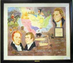 Photograph of an original painting by local artist Glenda Manche depicting President Thomas Jefferson with explorers Merriweather Lewis and William Clark.